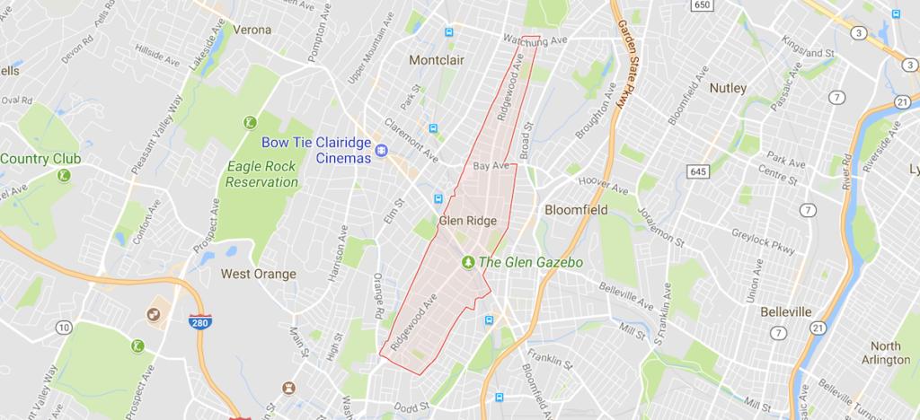 Map of Glen Ridge, NJ
